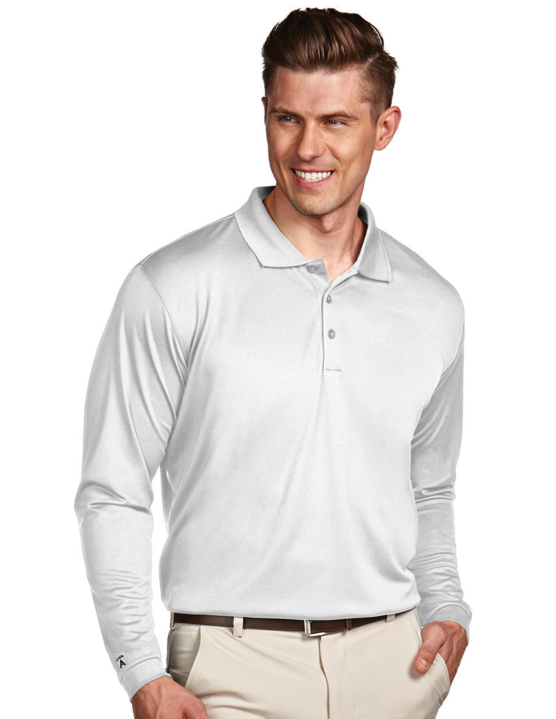Antigua Mens White Long Sleeve S P F 50 Polo #100297