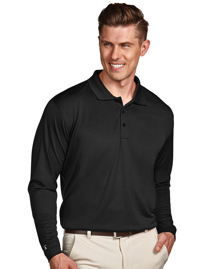 Antigua Mens Black Long Sleeve S P F 50 Polo #100297