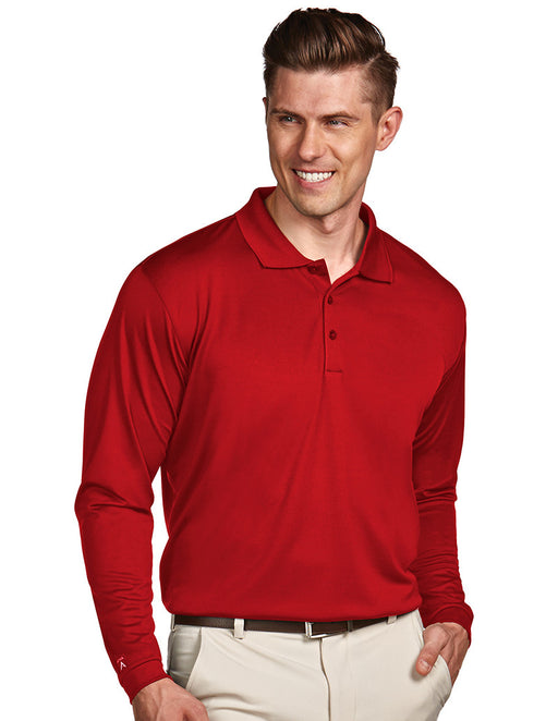 Antigua Mens Red Long Sleeve S P F 50 Polo #100297