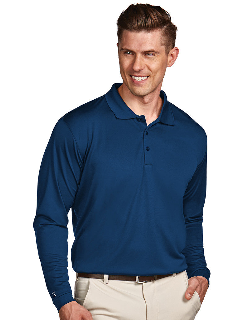Antigua Mens Blue Long Sleeve S P F 50 Polo #100297