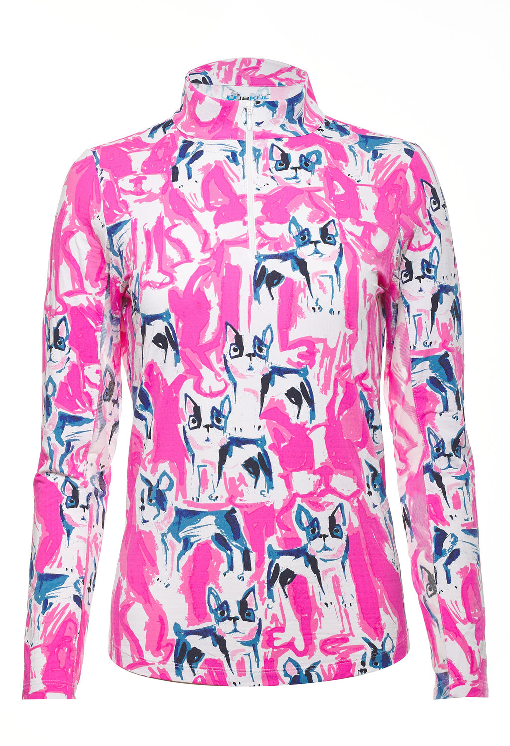 Ibkul Icifil Long Sleeve Sun Shirt: Frenchie Pink Print Mock - SPF 50