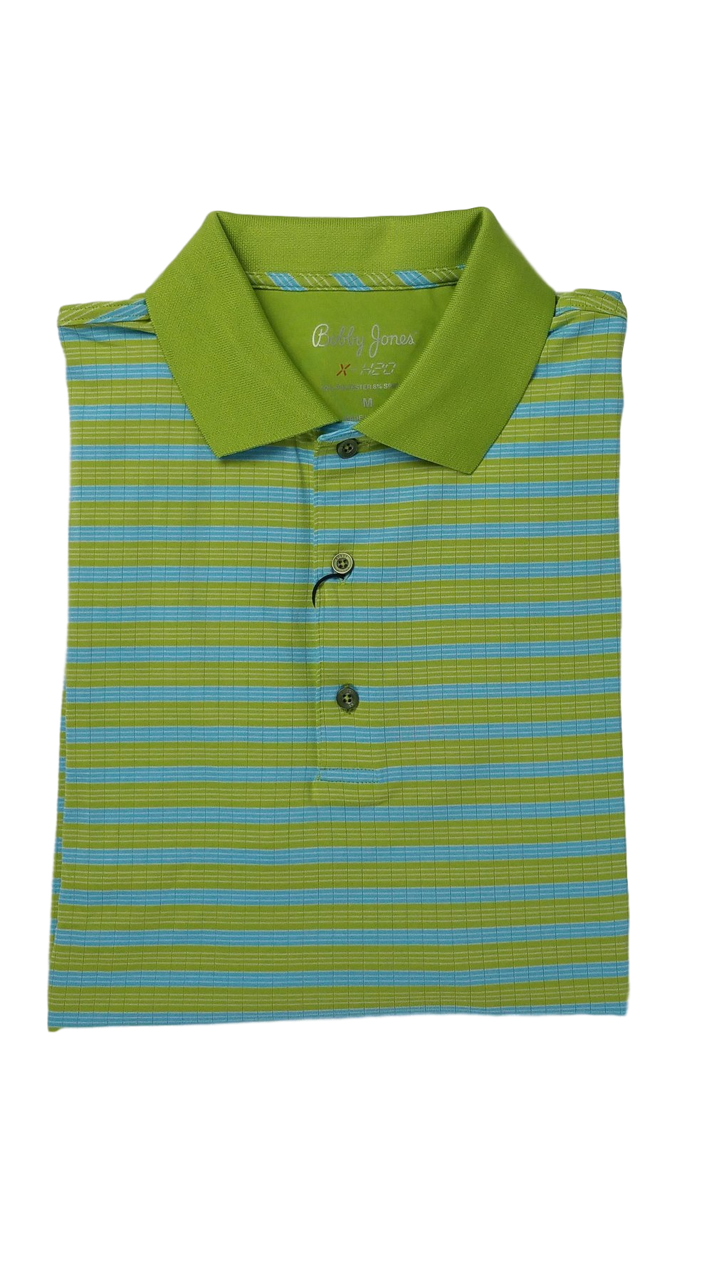 Bobby Jones Performance Green and Blue Striped Polo