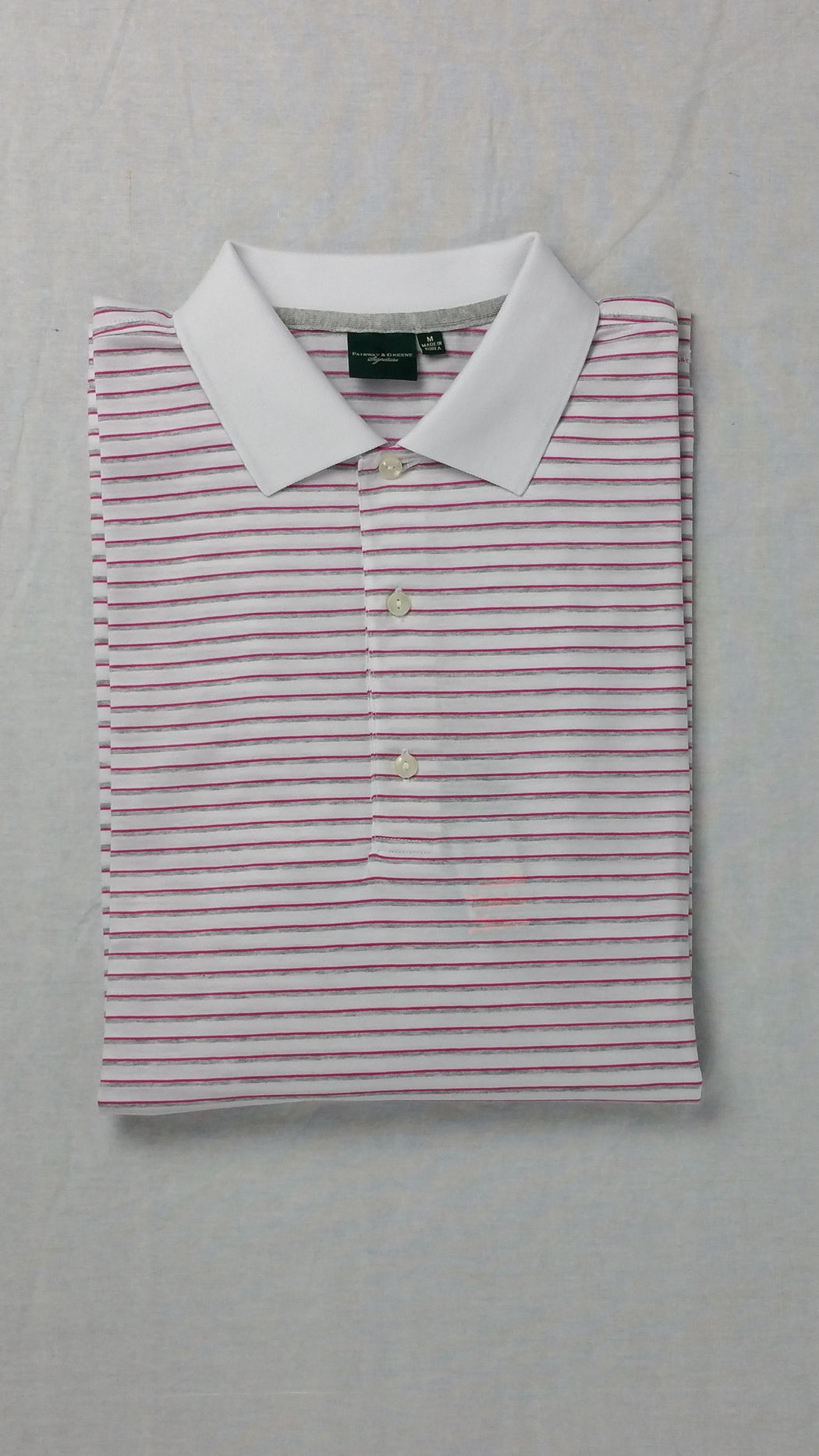 Fairway and Greene White Striped Polo