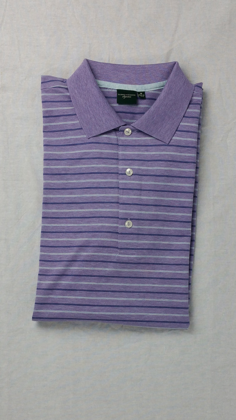 Fairway and Greene Purple Striped Polo