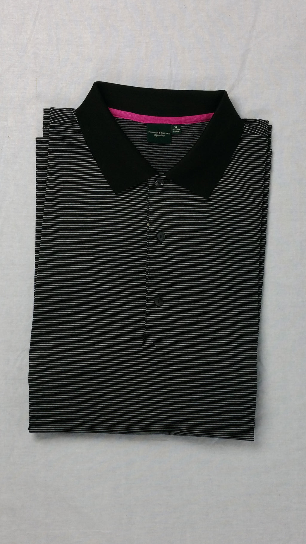 Fairway and Greene Black  Striped Polo
