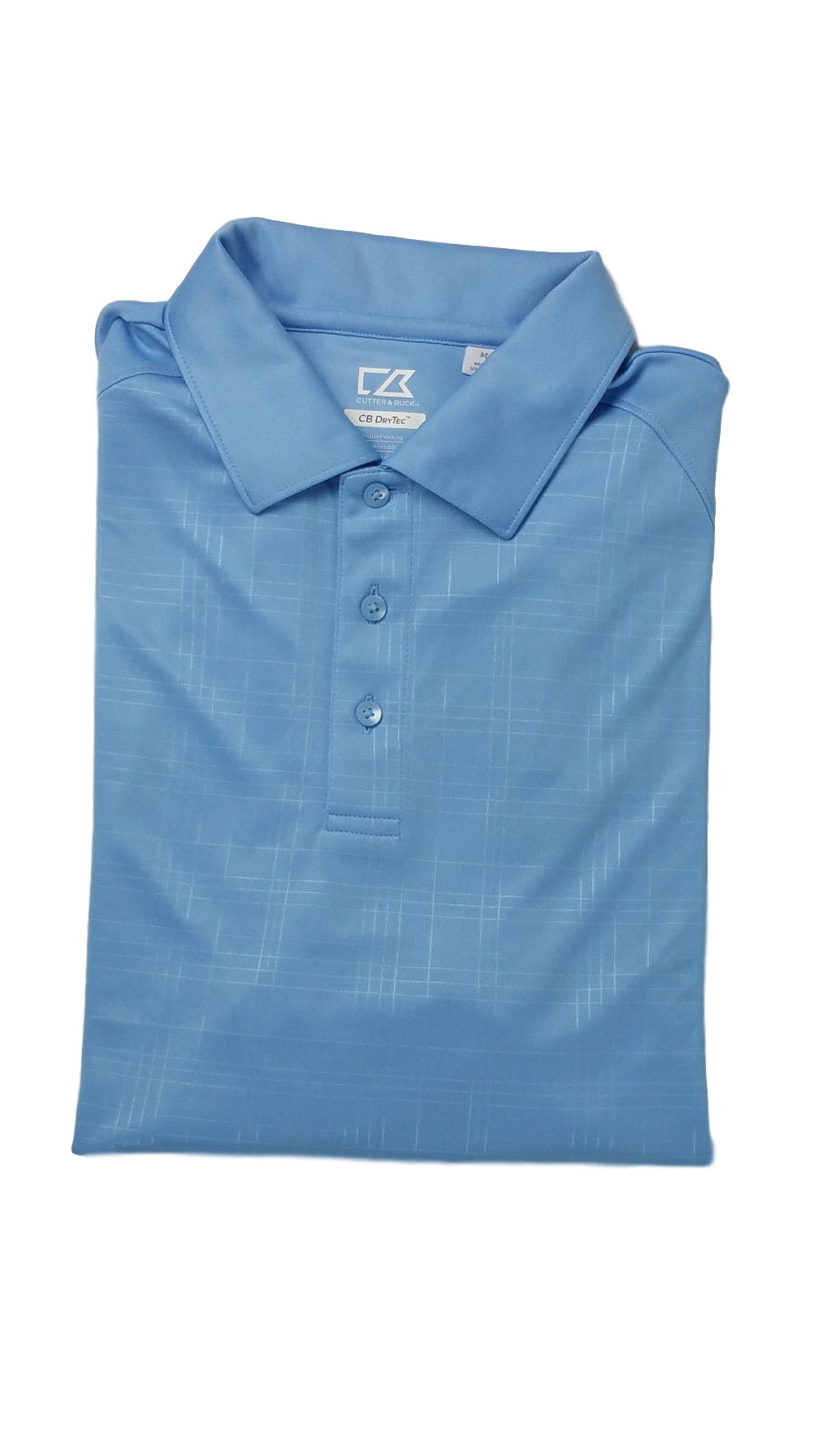 Cutter and Buck Blue Embossed Mens Golf Polo