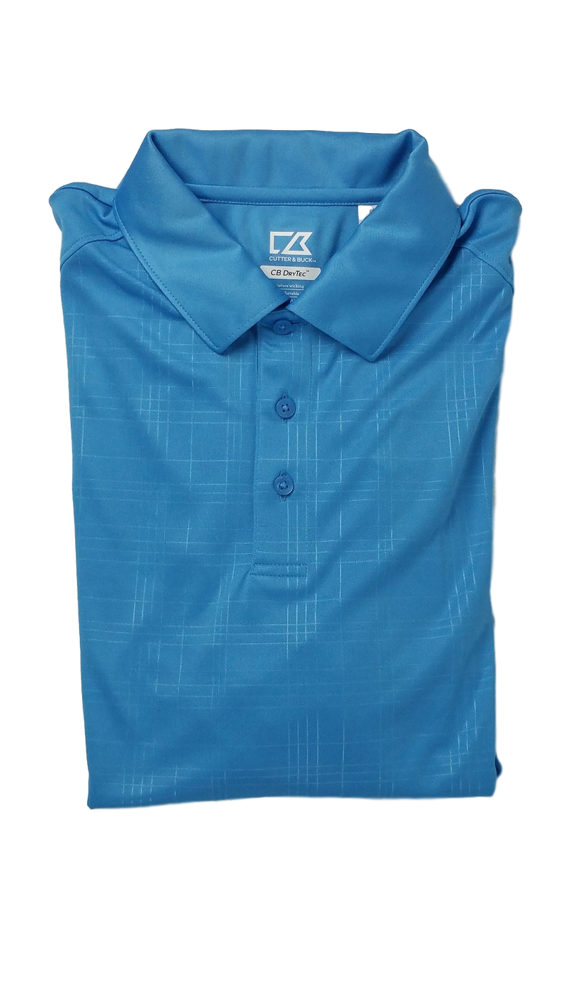 Cutter and Buck Sea Blue Embossed Mens Golf Polo