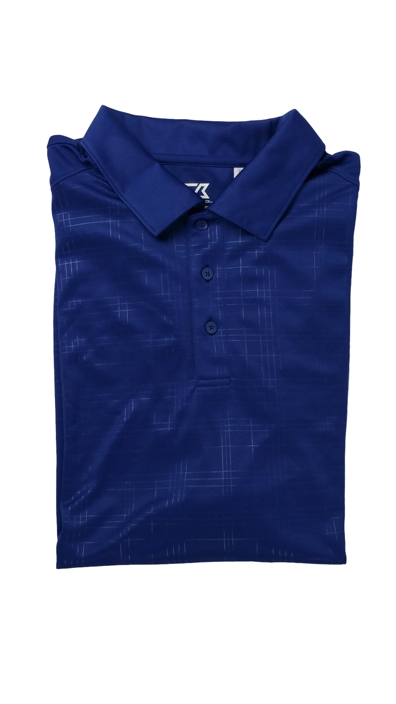 Cutter and Buck Royal Blue Embossed Mens Golf Polo