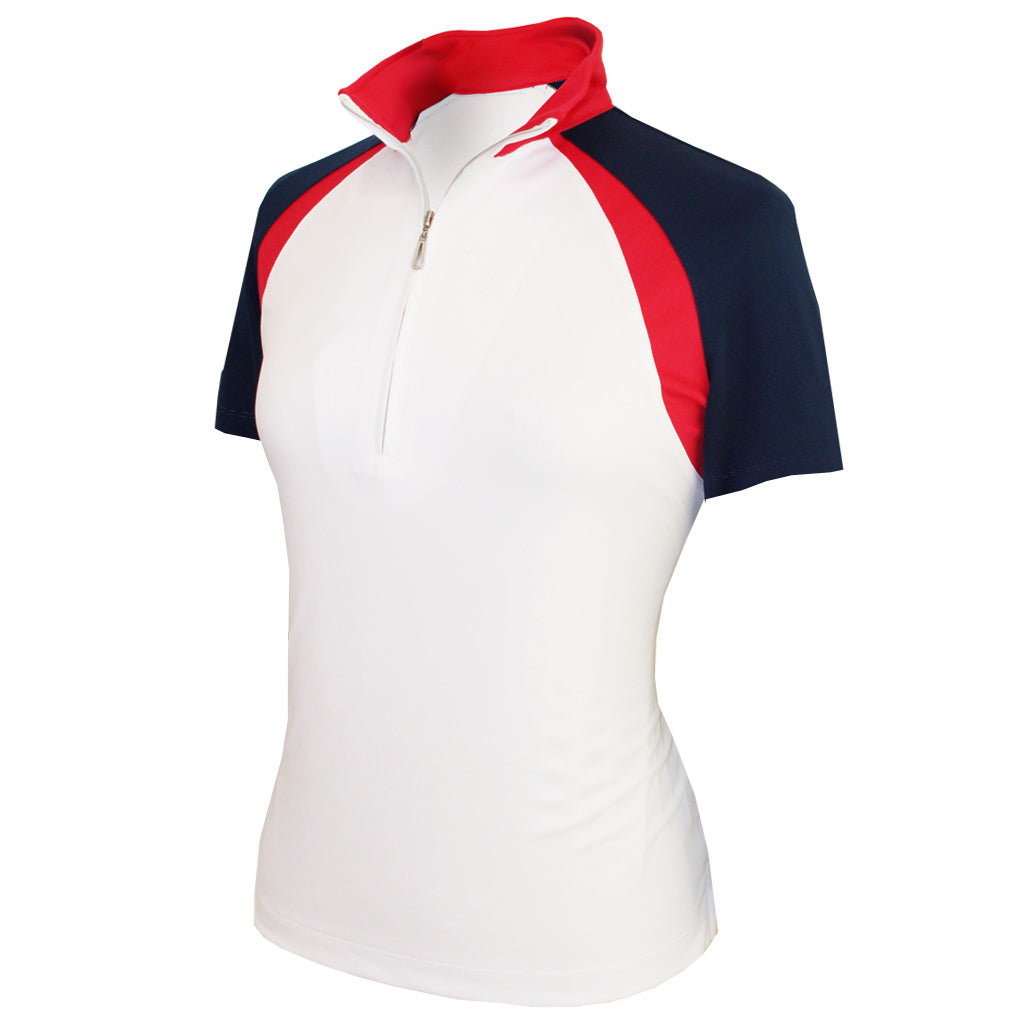 Monterey Club Ladies' Dry Swing Double Colorblock Stand-up Collar Shirt #2356