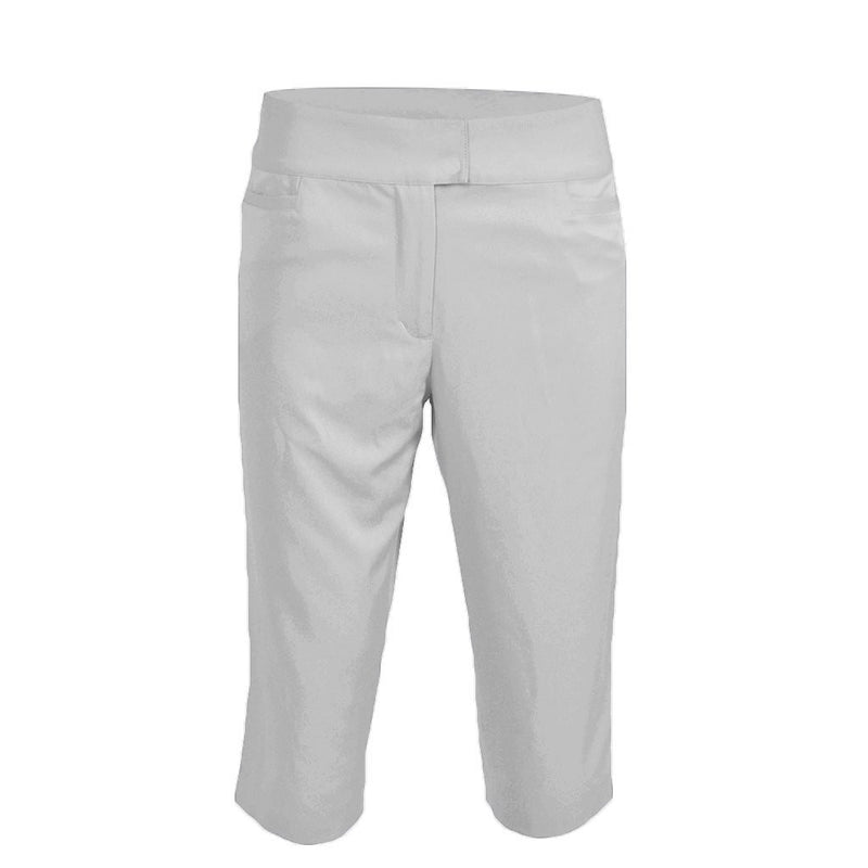 Monterey Club Ladies' Solid Uneven Waistband Woven Capri #2910 - White
