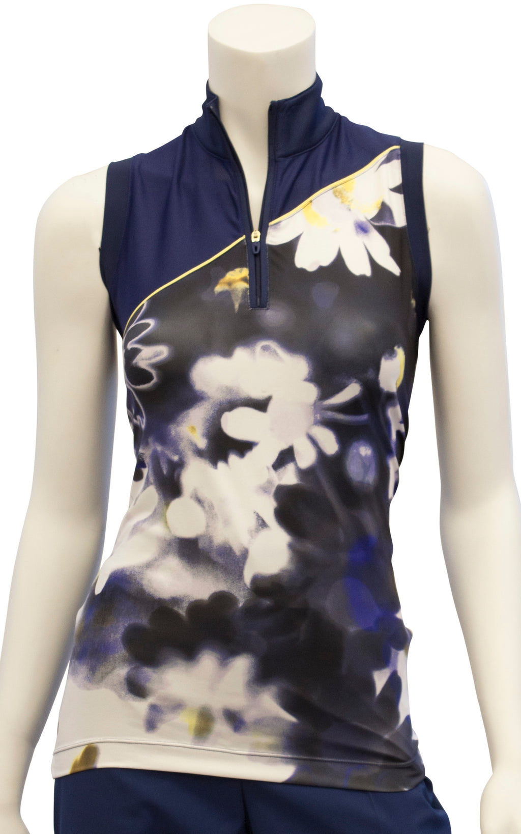 EP NY Sleeveless Exploded Blurred Daisy Print Polo