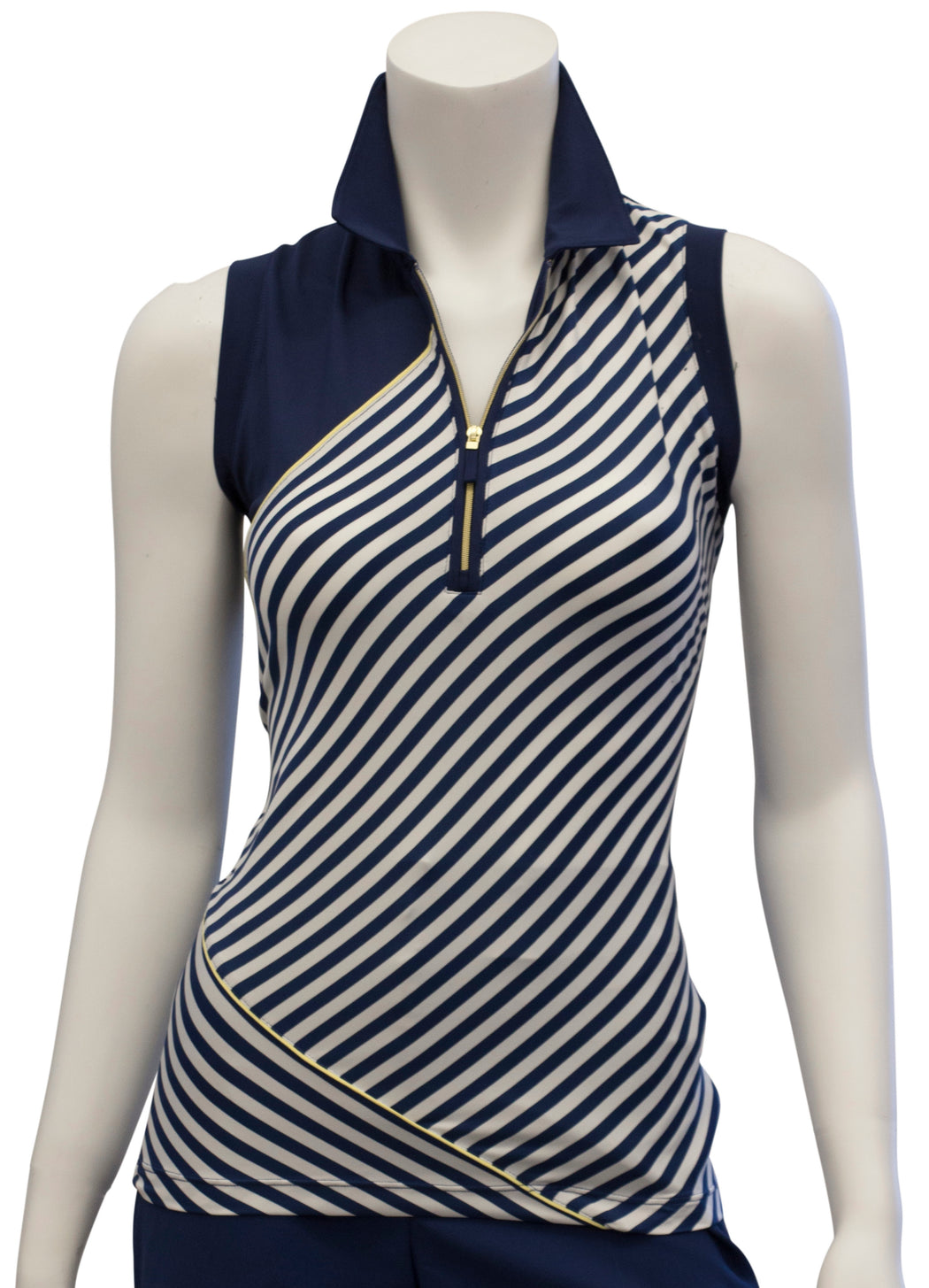 EP NY Sleeveless Stripe Blocked Polo