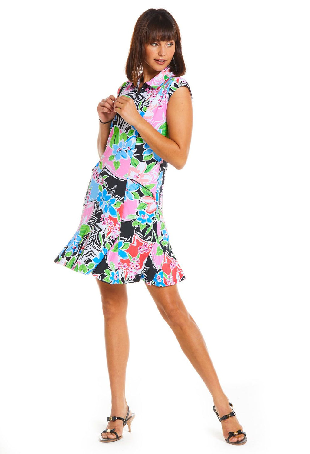 Ibkul  Sleeveless Polo Dress  Amelia Black/Multi - SPF 50