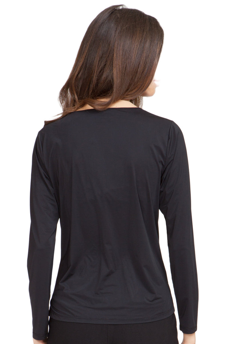 Jamie Sadock Jet Black Sunsense Long Sleeve Shirt - UPF 30