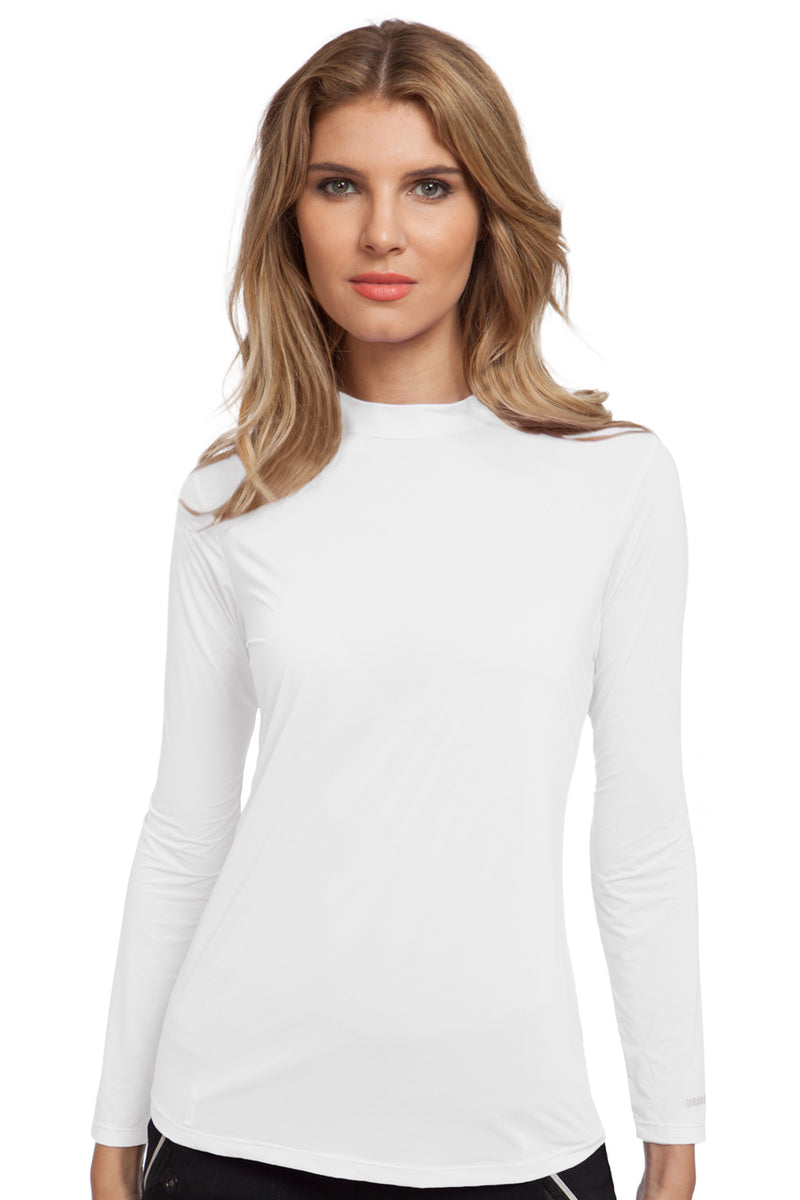 Jamie Sadock Sugar White Sunsense Mock Neck - UPF 30