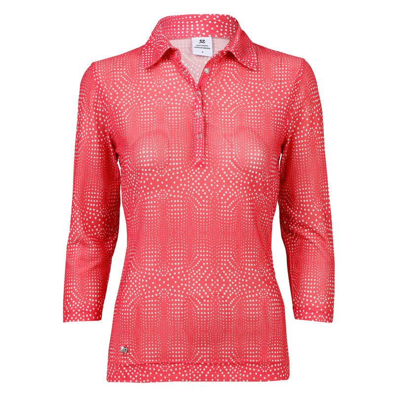 Daily Sport Aggie Watermelon Mesh 3/4 Sleeve Polo
