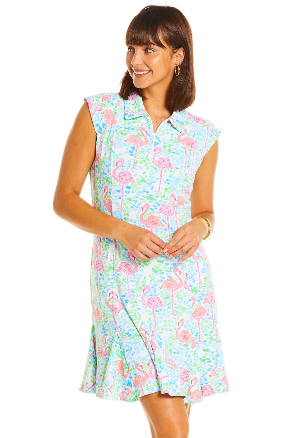 Ibkul  Sleeveless Polo Dress Flamingo Turquoise/ Pink - SPF 50