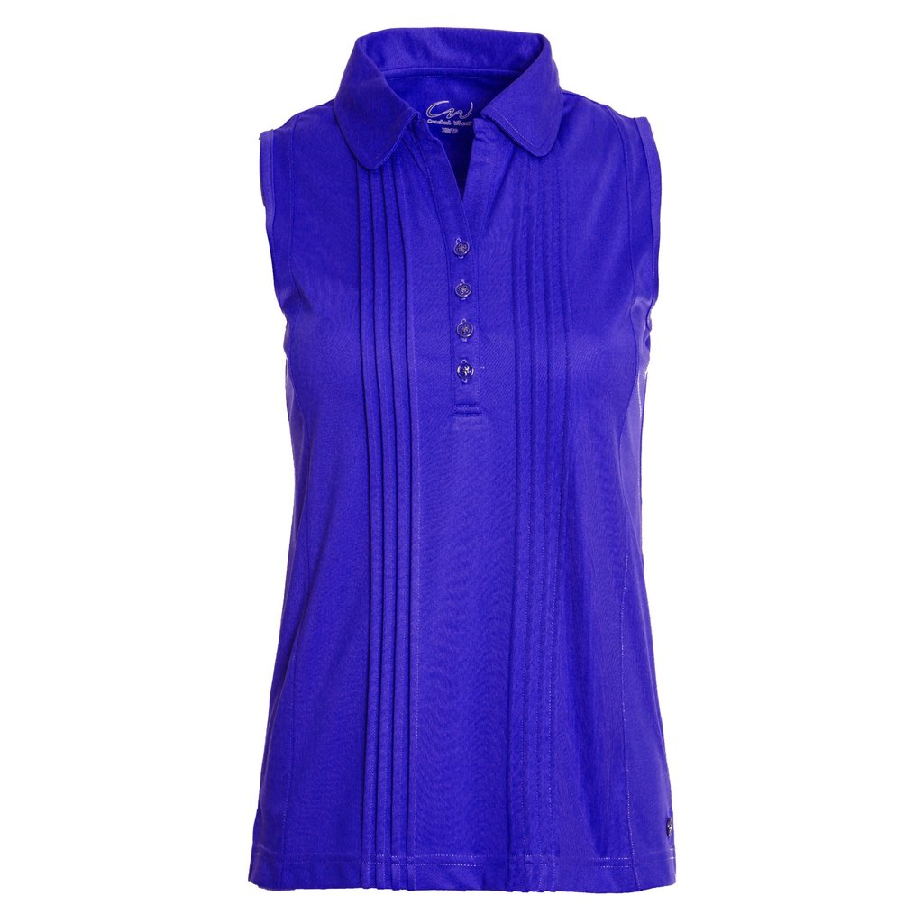 Cracked Wheat Fanny Royal Blue Sleeveless Pintuck Top