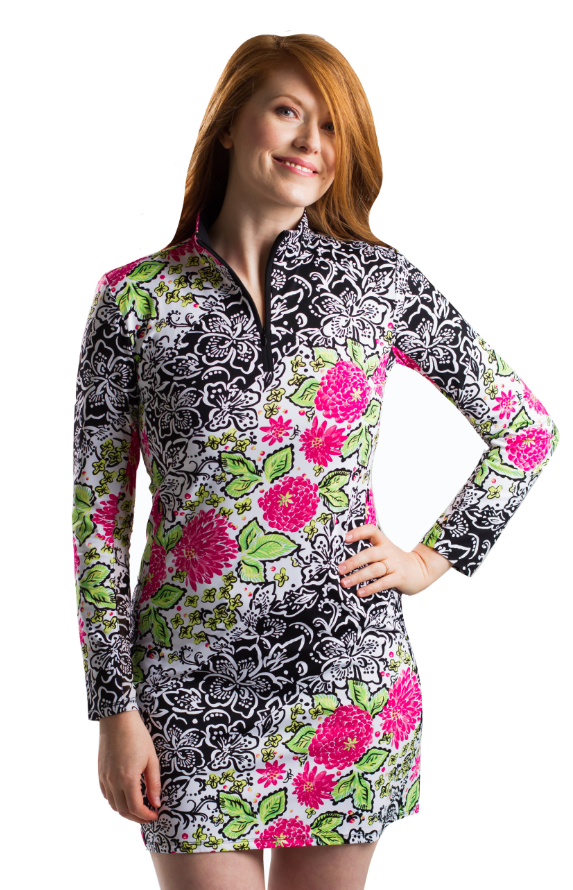 Sansoleil Long Sleeve Barcelona Print Mock Dress | SPF 50