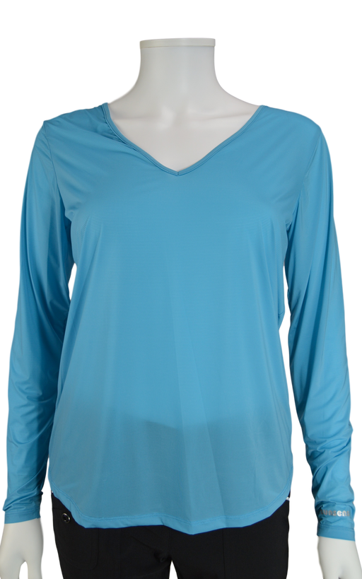 Jamie Sadock Infinity Blue Sunsense Long Sleeve V Neck Shirt - UPF 30