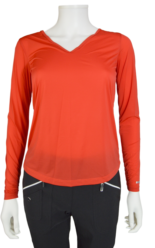 Jamie Sadock Joy Ride Red Sunsense Long Sleeve V Neck Shirt - UPF 30
