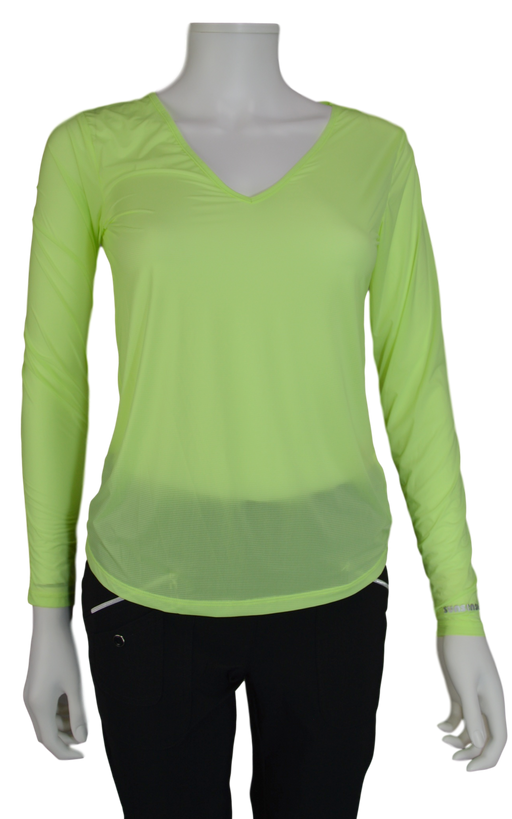 Jamie Sadock Shockwave Lime Green Sunsense Long Sleeve V Neck Shirt - UPF 30