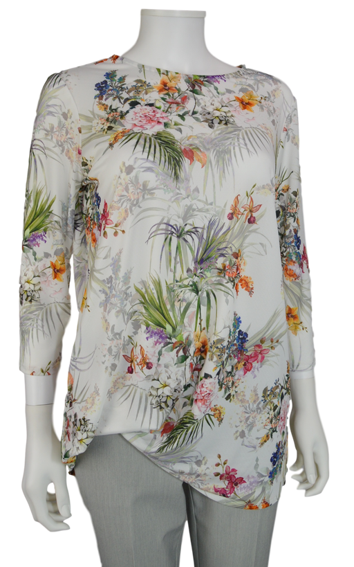 "Lisette L Sport 28"" Yoko Print 3/4 Sleeve Shirt with Rushed Bottom (LS347308)"