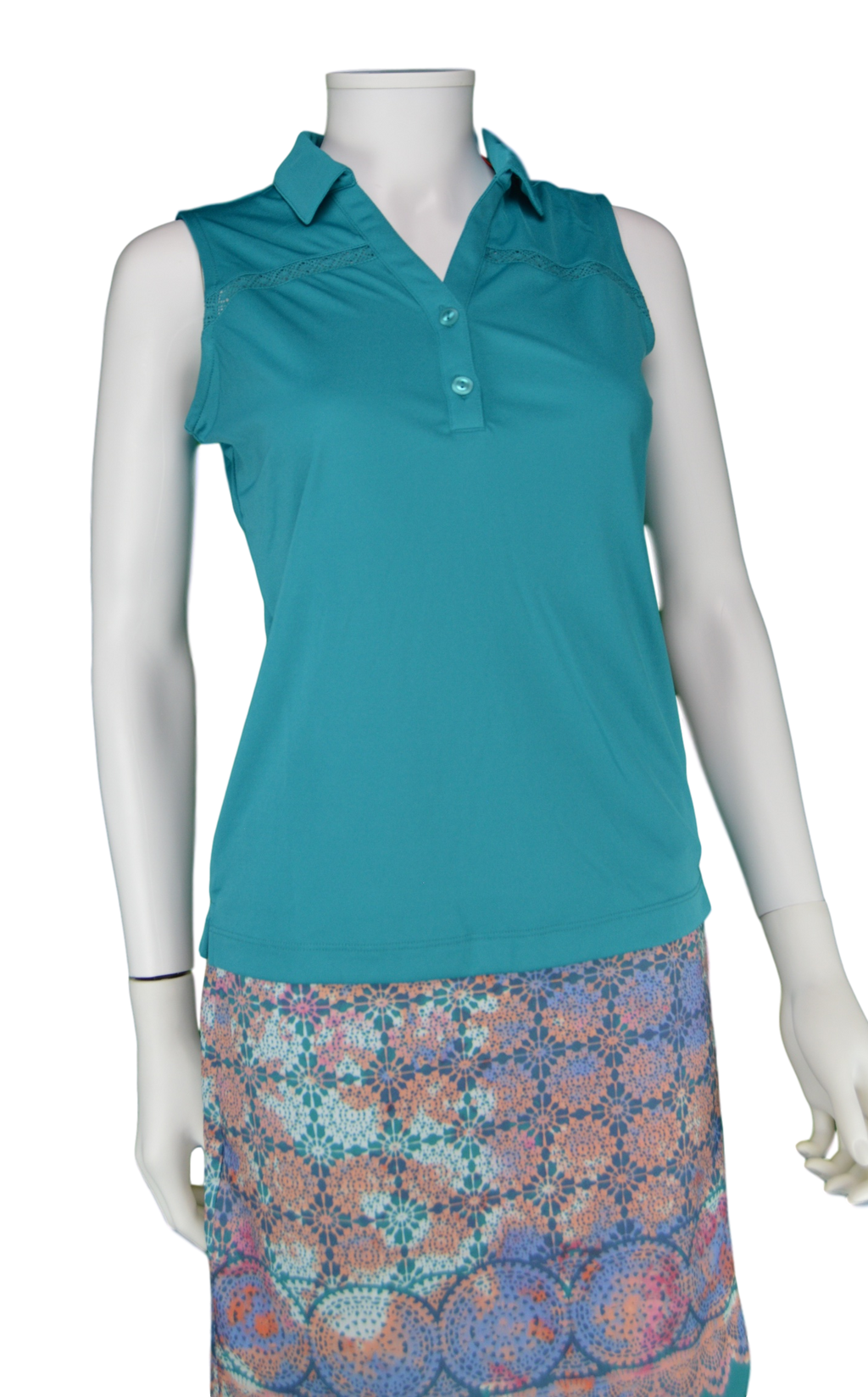 EP Pro Cassis Tour Tech Sleeveless Polo - Aqua Crush