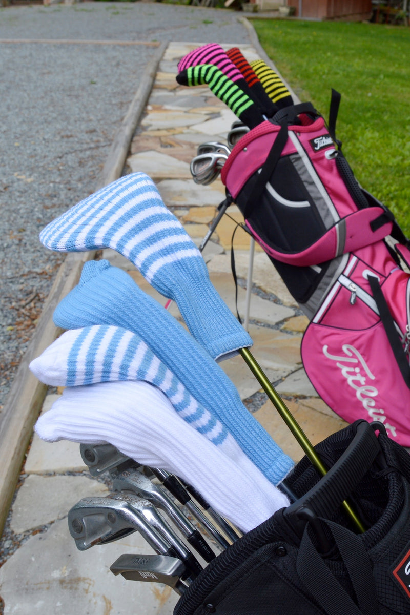White and Light Blue Club Sock Golf Headcover