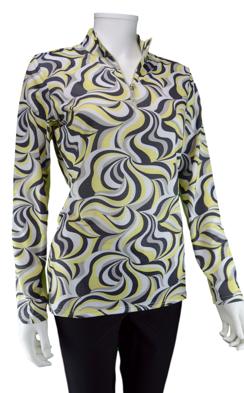 Bette & Court SPF 30+ Cool Elements Longsleeve Mock Neck Polo - Lemonade Print