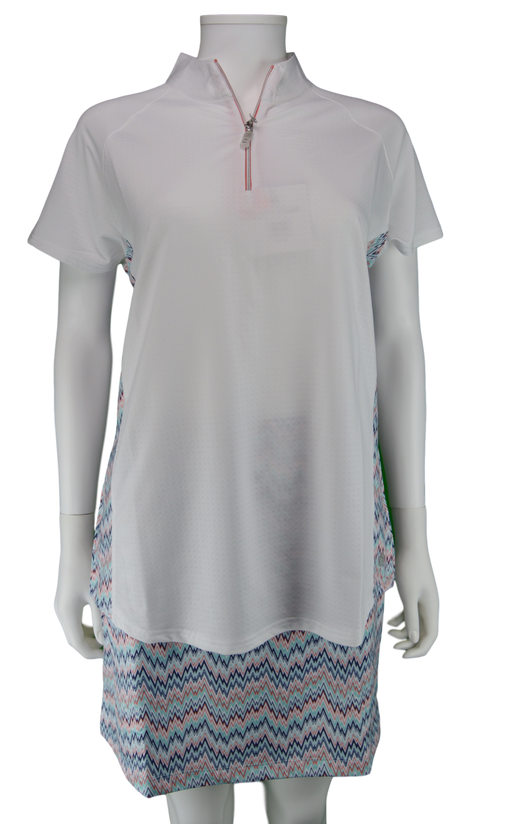 Bette & Court Cool Elements Colorblock Polo UPF 50 - White Mischa Print