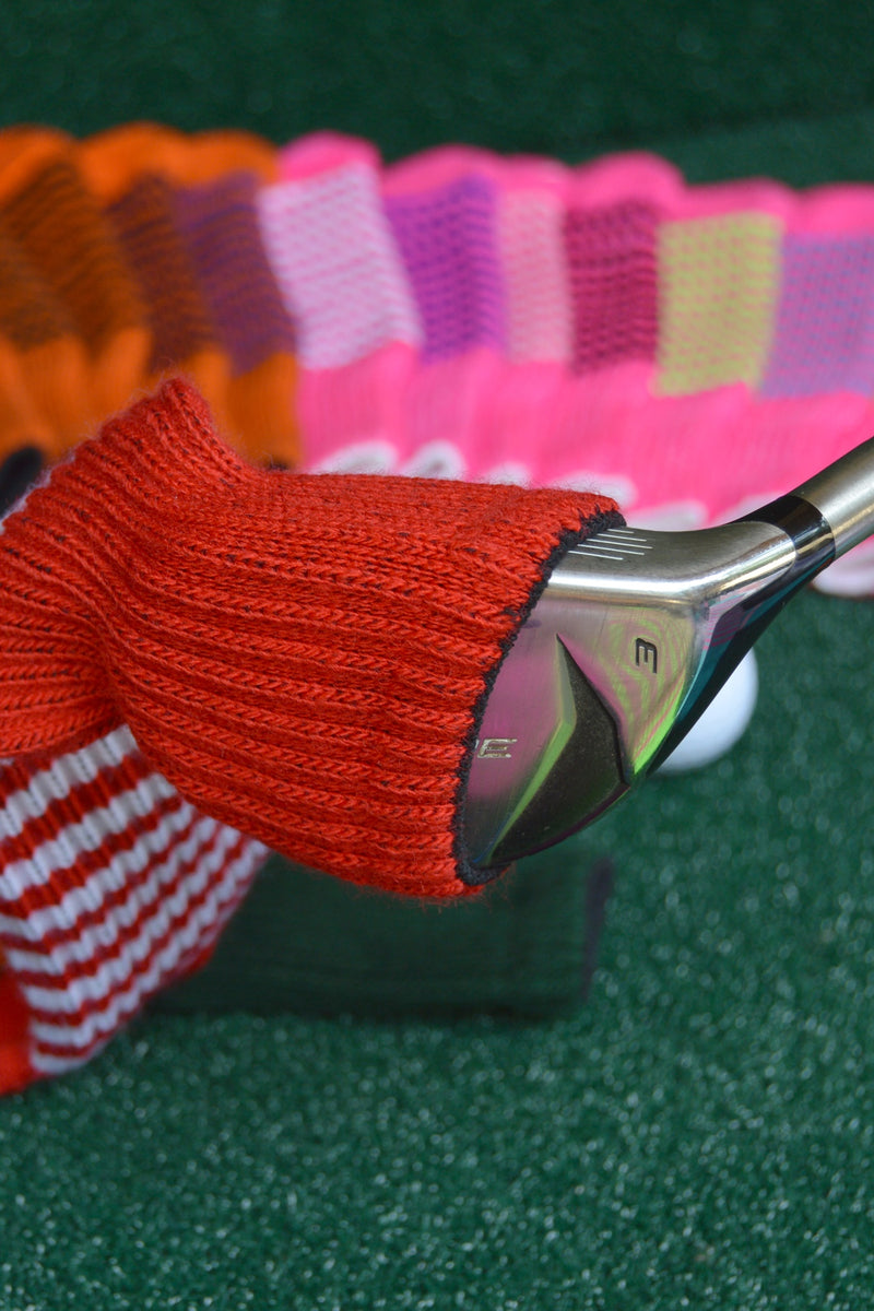 White and Burgundy Red Club Sock Golf Headcover