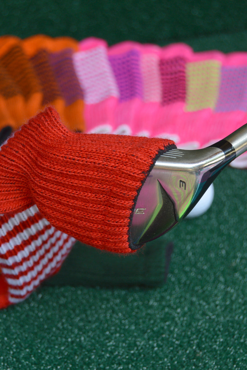 Light Rose Pink and Black Club Sock Golf Headcover