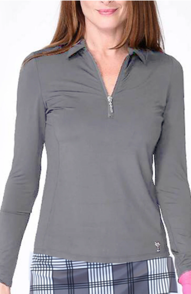 Golftini Long Sleeve Zip Tech Polo-Grey