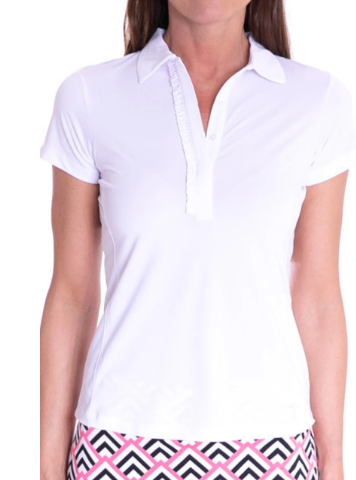 Golftini Short Sleeve Ruffle Tech Polo -White