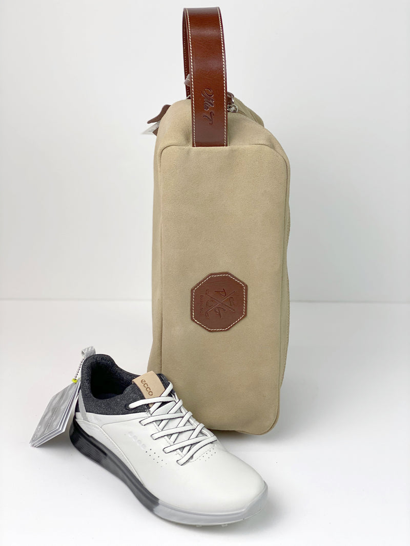 Barcelona Suede Shoe Bag - Peanuts and Golf in Camel