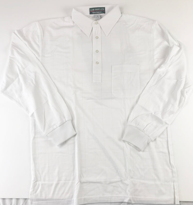 Club Shop LTD.  Mens  White  Long Sleeve Polo