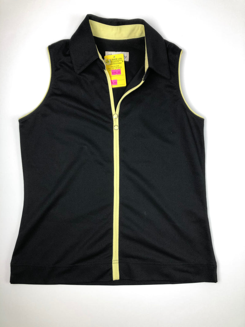 Sport Haley Sleeveless Golf Polo Black w/ Yellow Piping