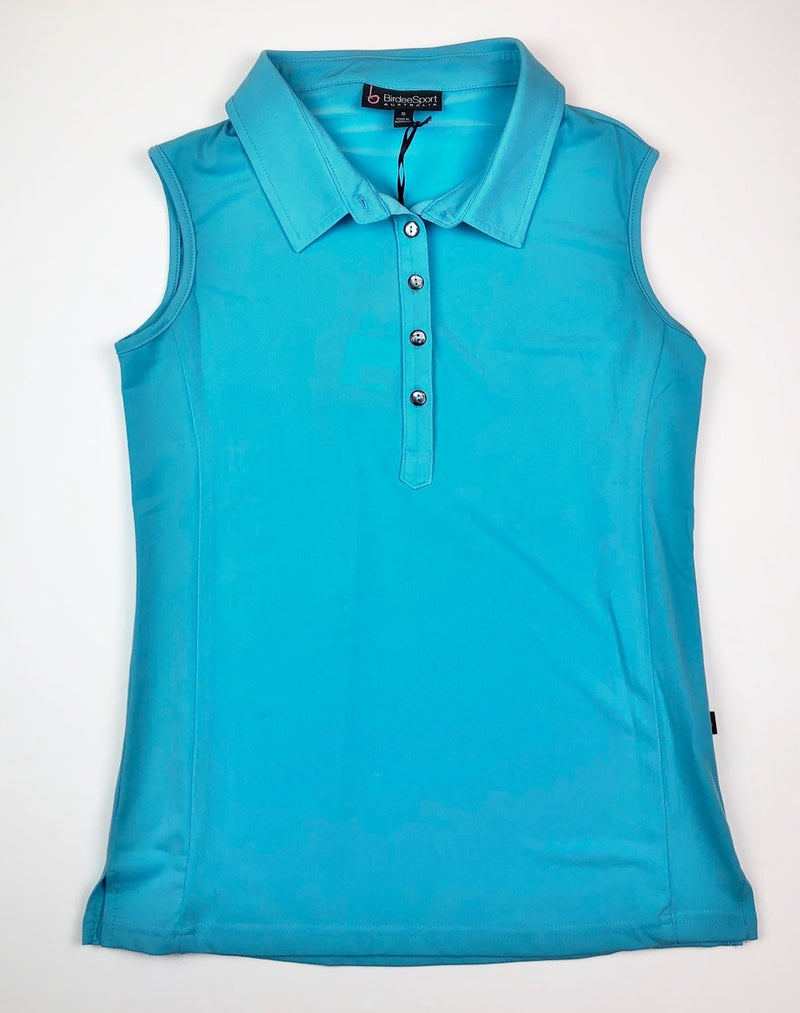 Birdee Sport Sleeveless Polo in Aqua Blue