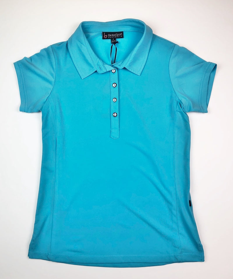 Birdee Sport Short Sleeve Polo in Aqua Blue