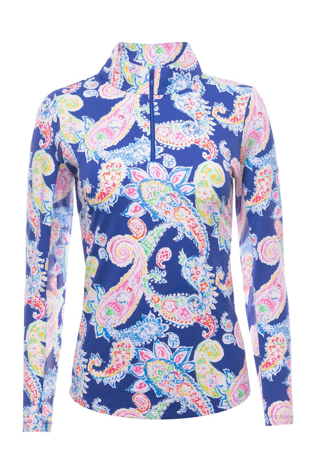 Ibkul Long Sleeve Mock: Sharon Navy Print | SPF 50