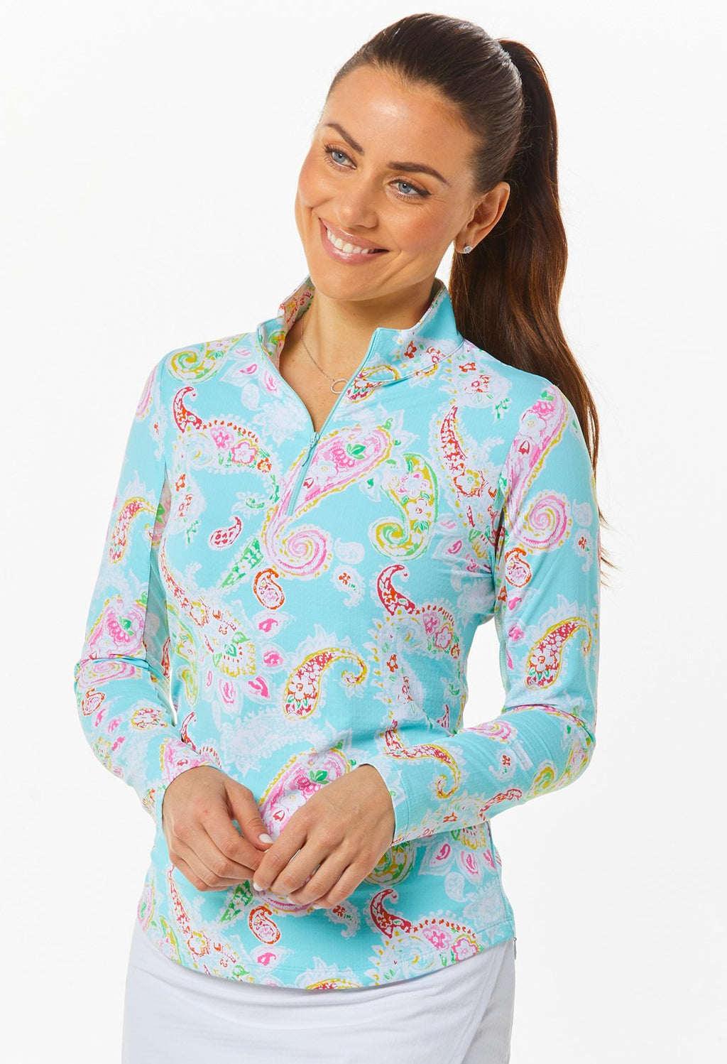 Ibkul Long Sleeve Mock: Sharon Seafoam Print | SPF 50