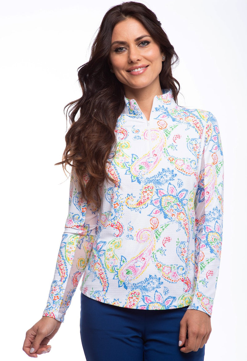 Ibkul Long Sleeve Mock: Sharon White/Multi Print | SPF 50