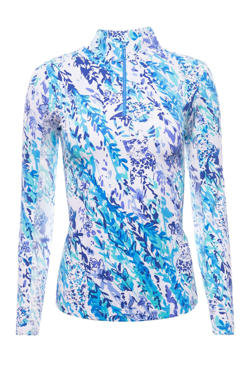 Ibkul Long Sleeve Mock: Cat Cay Navy/Seafoam Print | SPF 50