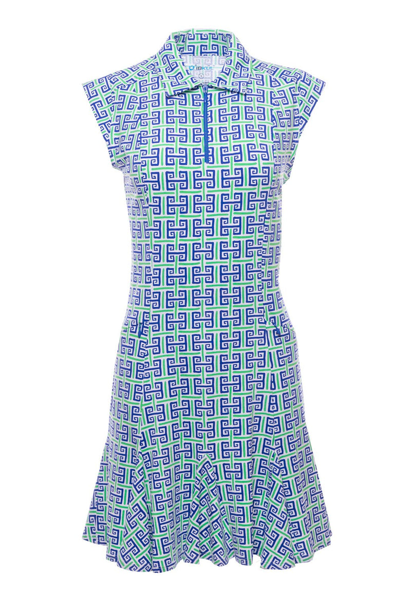Ibkul Sleeveless Polo Dress Geo Key Navy/Green #50512 | SPF 50