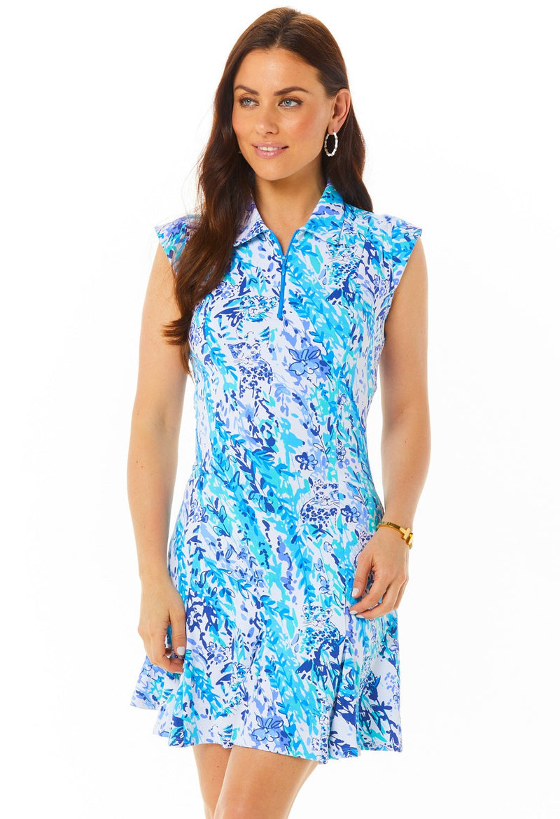 Ibkul Sleeveless Polo Dress Cat Cay Navy/Seafoam #50518 | SPF 50