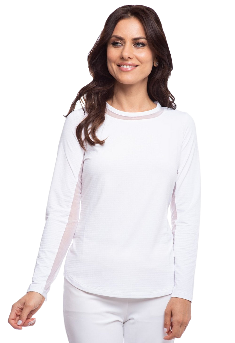 Ibkul Long Sleeve Crew Neck Sun Shirt: White | SPF 50