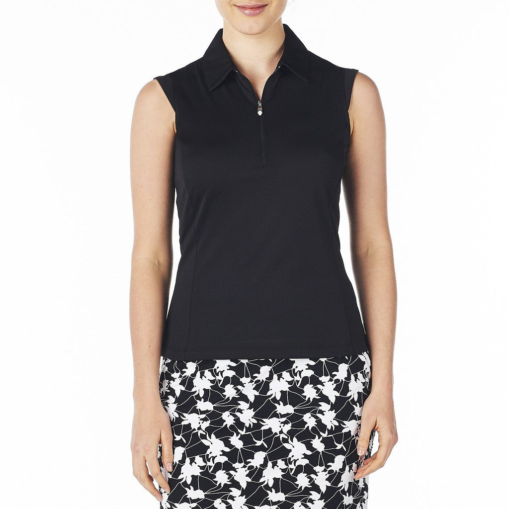 Nivo Nelly Sleeveless Polo - Black - SPF 40