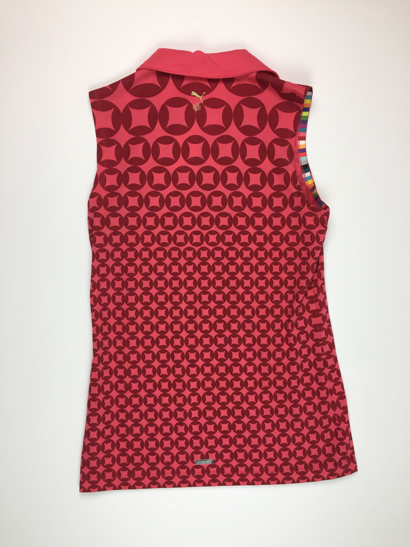 Puma Sleeveless Pink Print Polo
