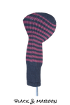 Black and Maroon Club Sock Golf Headcover | Peanuts and Golf